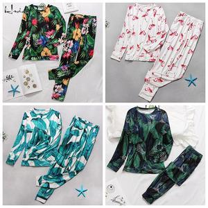 Image 4 - Осенне зимний пижамный комплект с цветочным принтом, Женская свободная мягкая пижама с длинным рукавом и круглым вырезом размера плюс, женская одежда для сна, Женская домашняя одежда
