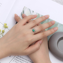 SHANICE Pure 925 Sliver Natural Green Stone Rings For Women Brass Plated Open Adjustable Finger Rings Female Jewelry Charms
