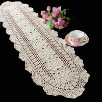 30cm X 150cm Hand Made Crochet Vintage Knit Retro Decorative Hook Engraving Flower Weaved Knitted Table