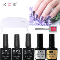 Nouveau KCE Nail Art Ensembles Kits 10 ML * 3 pcs Cat Eye Nail Gel + Top Coat + De Base manteau + 1 Aimant + LED et Lampe UV 6 w Nail Set Polonais