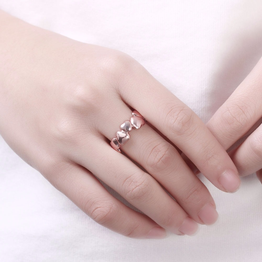 Heart Link Heart Design Without Stone Copper Ring Graceful Charming ...