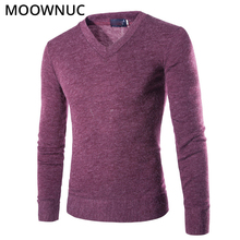 Sweaters Pullover Men Homme Slim Keep Warm Solid Autumn Fashion Smart Casual Male Bottoming shirt V-Neck MOOWNUC MWC