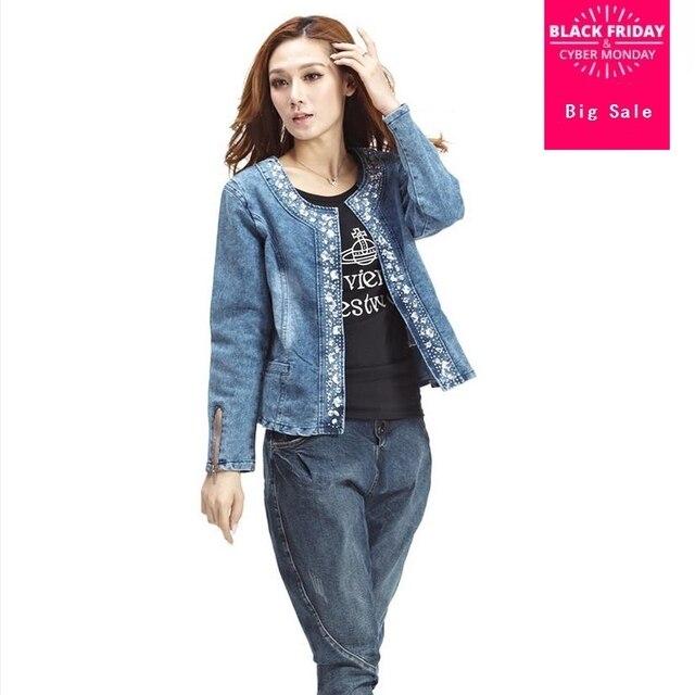 34d16c76a Plus Size 4XL jeans jacket mulheres Denim Patchwork Casacos Jeans Casaco  Para Mulheres Retro Longo-