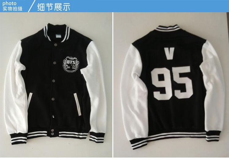 kpop 2017 new BTS Bangtan Boys Mood for Love The same paragraph coat Baseball uniform SUGA Bigbang Korean version Hoodies jacket