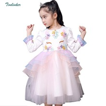 Girls Princess Unicorn Costumes Flower Tutu Dress Winter Long Sleeve Costume Party Fancy up Dress Vestidos 2018 New Arrivals unicorn flower tutu dress girls princess sleeveless unicorn costume birthday party fancy up dress vestidos 2 10 year new