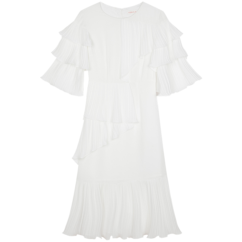 YIGELILA Women Summer White Ruffles Dress Fashion Solid O-neck Flare - Women's Clothing - Photo 4