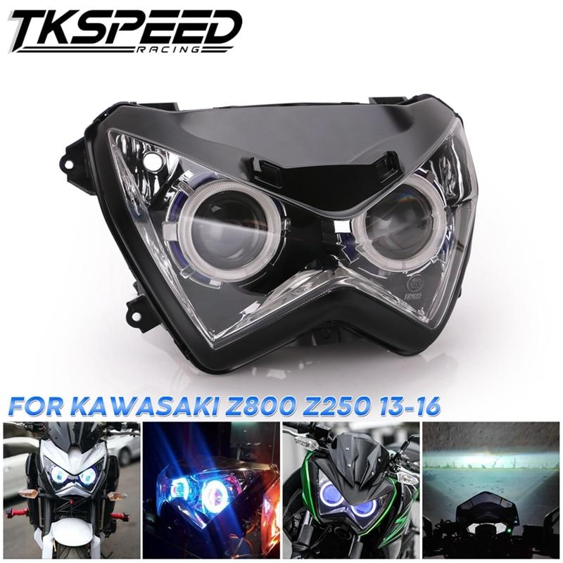 Halo Eye Blue Light Color HID Projector Custom Headlight Assembly For Kawasaki Z800 Z250 2013 2014 2015 2016