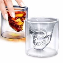 1pcs Skull Head Shot Glass Fun Creative Designer Crystal Party Wine Cup 25ml Transparent Beer Steins Halloween Gift