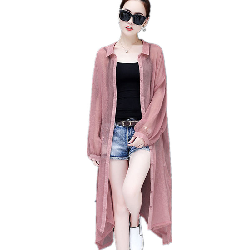 Spring Summer Cardigan Trench Coat Women Clothes Plus Size Long Coat Sun-Protection Casual Beach Windbreaker Female Coat Q1161