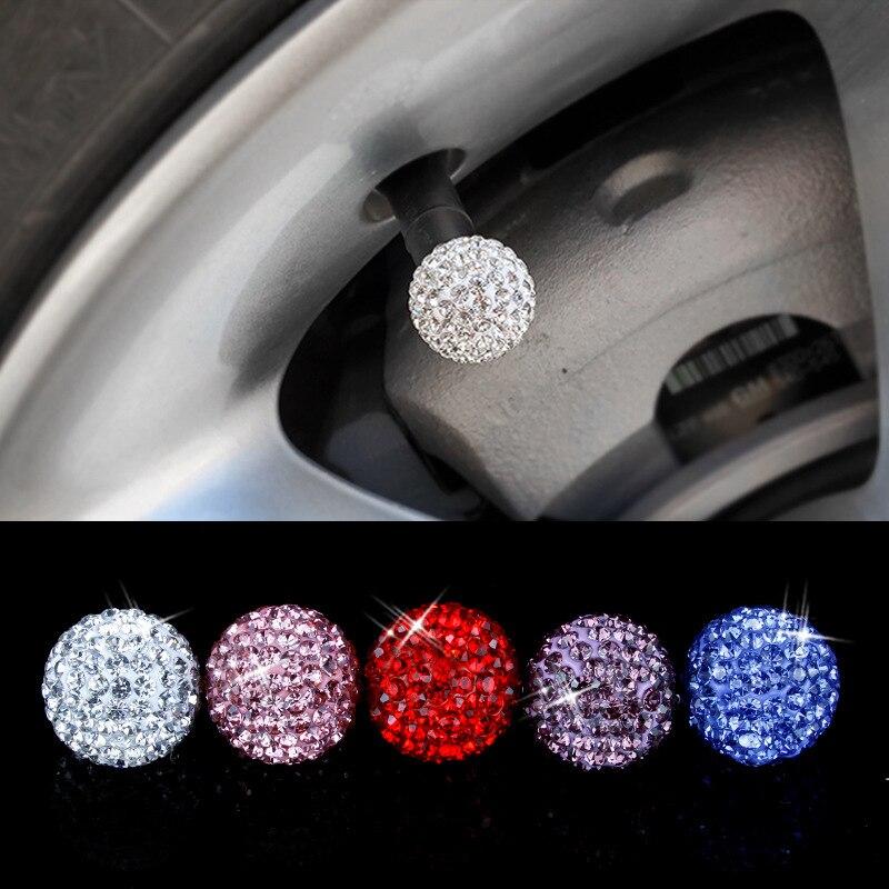 Diamond Shining Soft Clay Rhinestone Car Tire Valve Caps Car Accessories Dustproof Caps 4 Pcs/lot Car Wheel Tyre Stem Air Caps 4