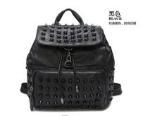 2016 women sheepskin backpack rivet patchwork genuine leather bag preppy style bag casual punk lady backpack