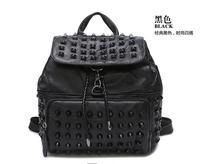 2017 женщины овчины рюкзак заклепки лоскутное натуральная кожа сумка опрятный стиль сумки случайные панк леди рюкзак