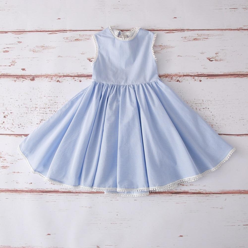 2019 hot selling girls dress ,Fashion blue stripe ,girls cotton dress ,back less dress  (3)
