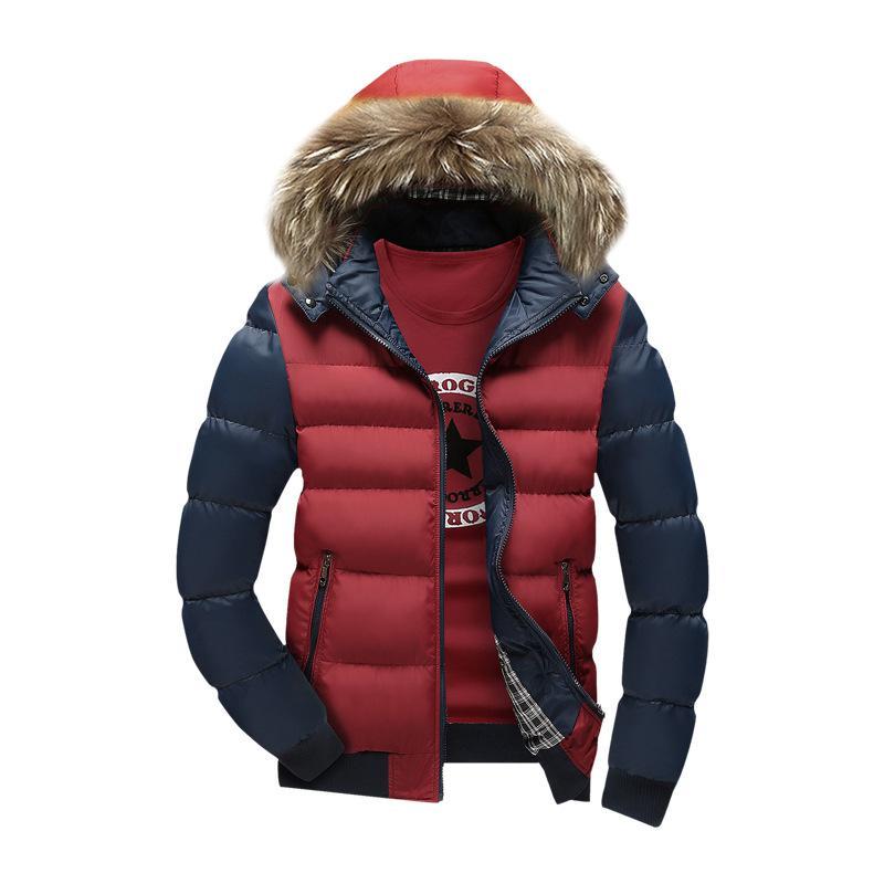 ФОТО 2016 New Brand Men's Winter Jacket Casual Solid Turn-dwon Collar Parka Winter Jacket Men Waterproof Fashion Overcoat Outerwear
