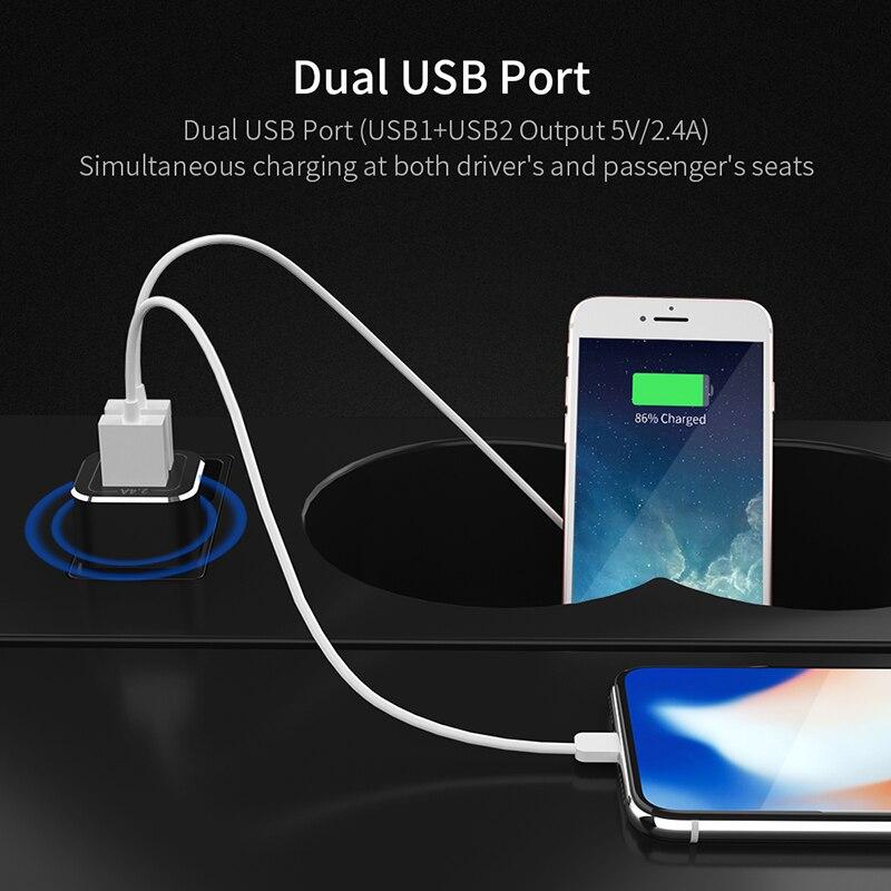 Bil laddare till iPhone Xiaomi mi 9 Samsung S10 Bil USB 2.4A Dual USB Laddare Adapter Bil Laddning Mobiltelefon Laddare