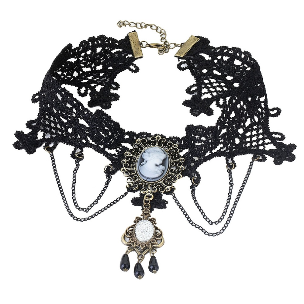 JOUVAL Collares Sexy Gothic Chokers Kristal Zwart Kant Hals Choker - Mode-sieraden - Foto 4