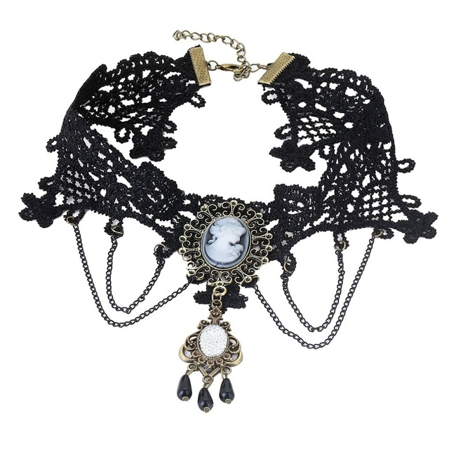 Sexy Gothic Crystal Black Lace Neck Choker Necklace