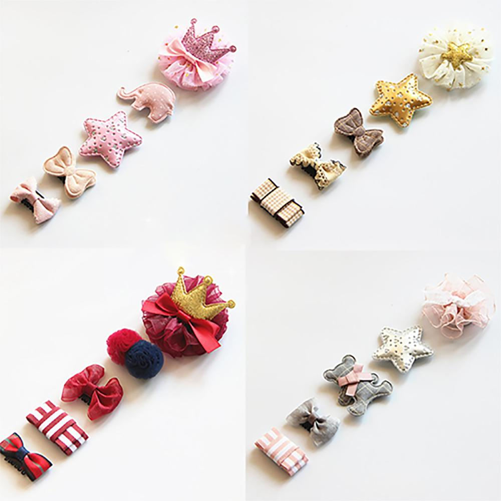 5Pcs/set Cute Baby Hair Clips Glitter Crown Strip Bowknot Princess Handdmade Hairpins For Girls Newborn Infant Hair Accessories