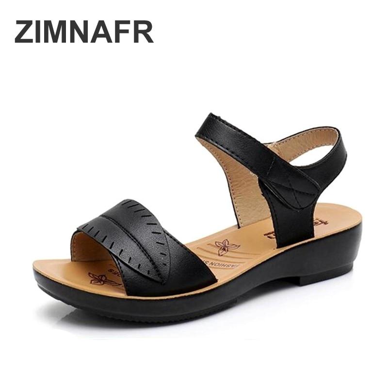 2018 new women sandals genuine leather mother's sandals flat female sandals soft bottom antiskid women sandals plus size 35-41 2