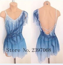 Ice Skating Dresses Women Competition Figure Dress Custom Crystals Blue  Girls Clothes B25