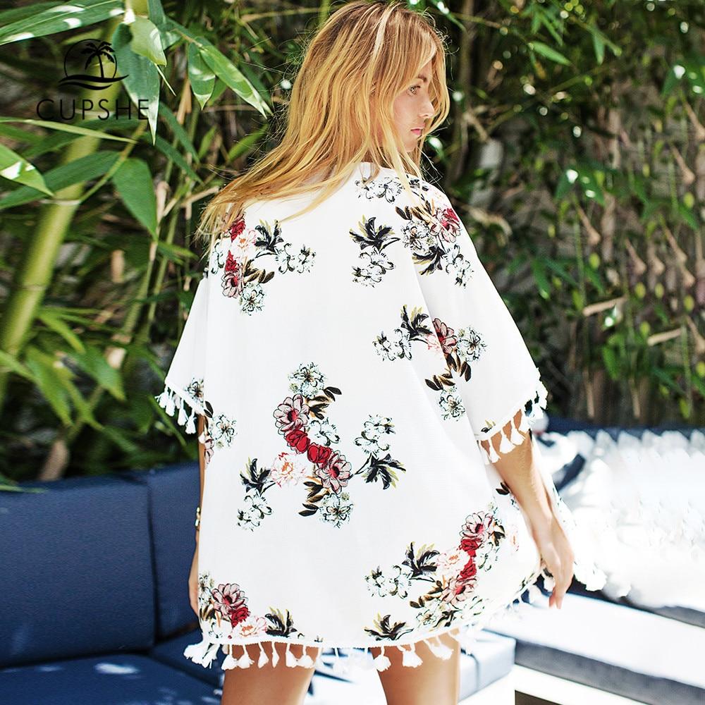 CUPSHE Chiffon Floral Print Tassels Kimono Bikini Cover Up Swimsuit Women 2019 Summer Beach Bathing Suit Beachwear Tunic Shirt