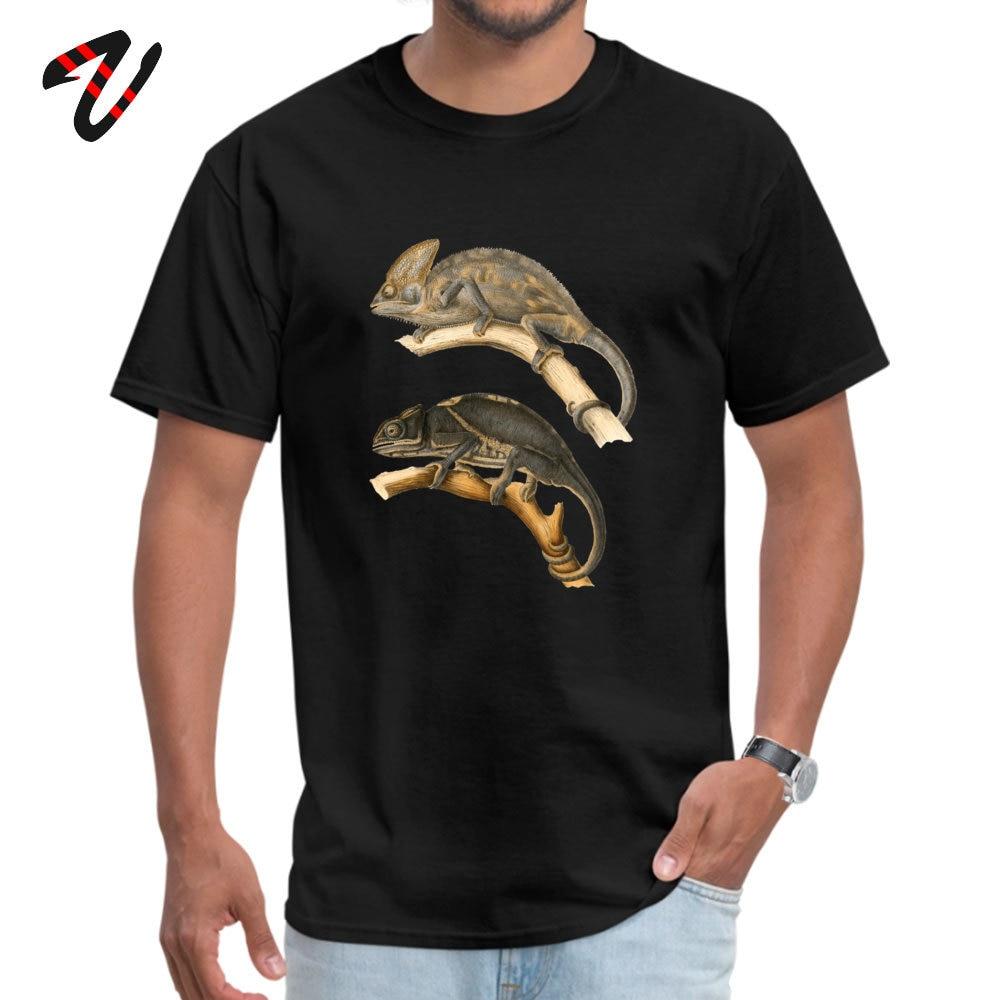 Chameleon Scientific Illustration Summer Cotton Round Neck Tops Tees Short Sleeve Funny Sweatshirts New Arrival Top T-shirts Chameleon Scientific Illustration 12047 black
