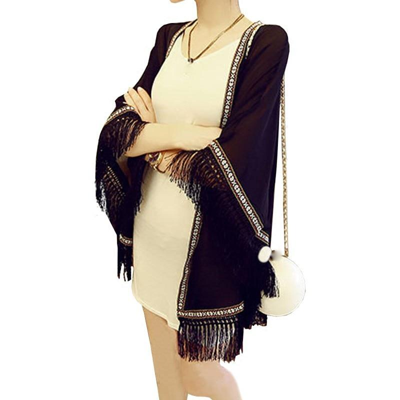 White Chiffon Loose Boho Kimono 2018 Beach Summer Women Casual Cardigan Tassel   Blouse     Shirt   Plus Size Tops Beachwear