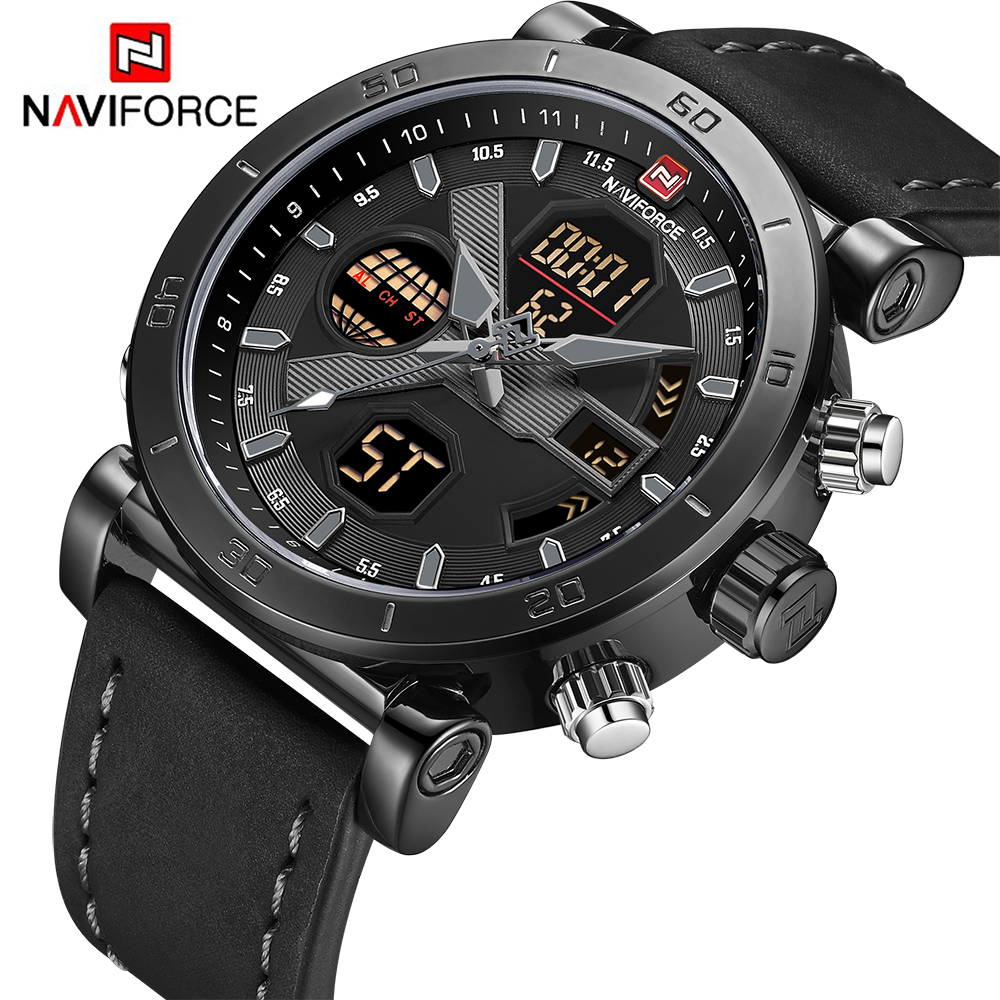 NAVIFORCE Brand Men's Watches Sport Military Dual Display Leather Watch Round 3ATM Waterpoof Multifunction Wristwatch Male Clock