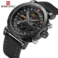 NAVIFORCE Brand Men's Watches Sport Military Dual Display Leather Watch Round 3ATM Waterpoof Multifunction Wristwatch Male Clock(China)