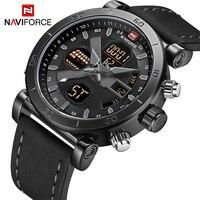 Naviforce marca relógios masculinos esporte militar dupla exibição relógio de couro redondo 3atm waterpoof multifunções relógio de pulso masculino|Relógios de quartzo| |  -