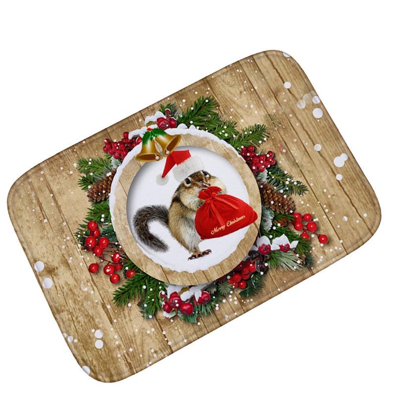 Christmas Entrance Welcome Outdoor Carpet Non-slip Stair Flooring Mat Soft Flannel Home Bathroom Decoration Christmas Carpet