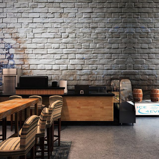 Custom Size Photo Retro Gray Brick Wall Pattern Wallpaper Bedroom Studio Lounge Restaurant Bar Cafe Mural