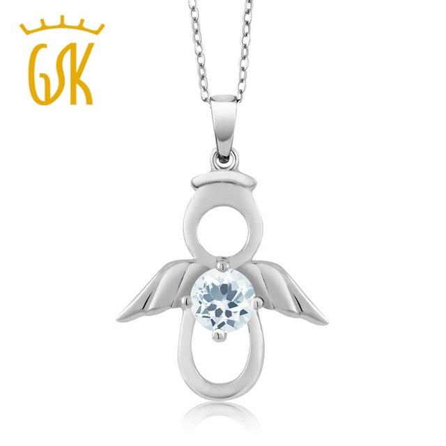 Gemstoneking 925 sterling silver angel pendant necklace for women0 gemstoneking 925 sterling silver angel pendant necklace for women040 ct round natural sky blue aloadofball Images