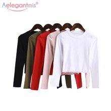 Aelegantmis, модные однотонные Короткие топы для женщин,, Весенняя футболка с длинным рукавом, для девушек, с круглым вырезом, стрейчевая, тонкая, короткая, повседневная, уличная одежда