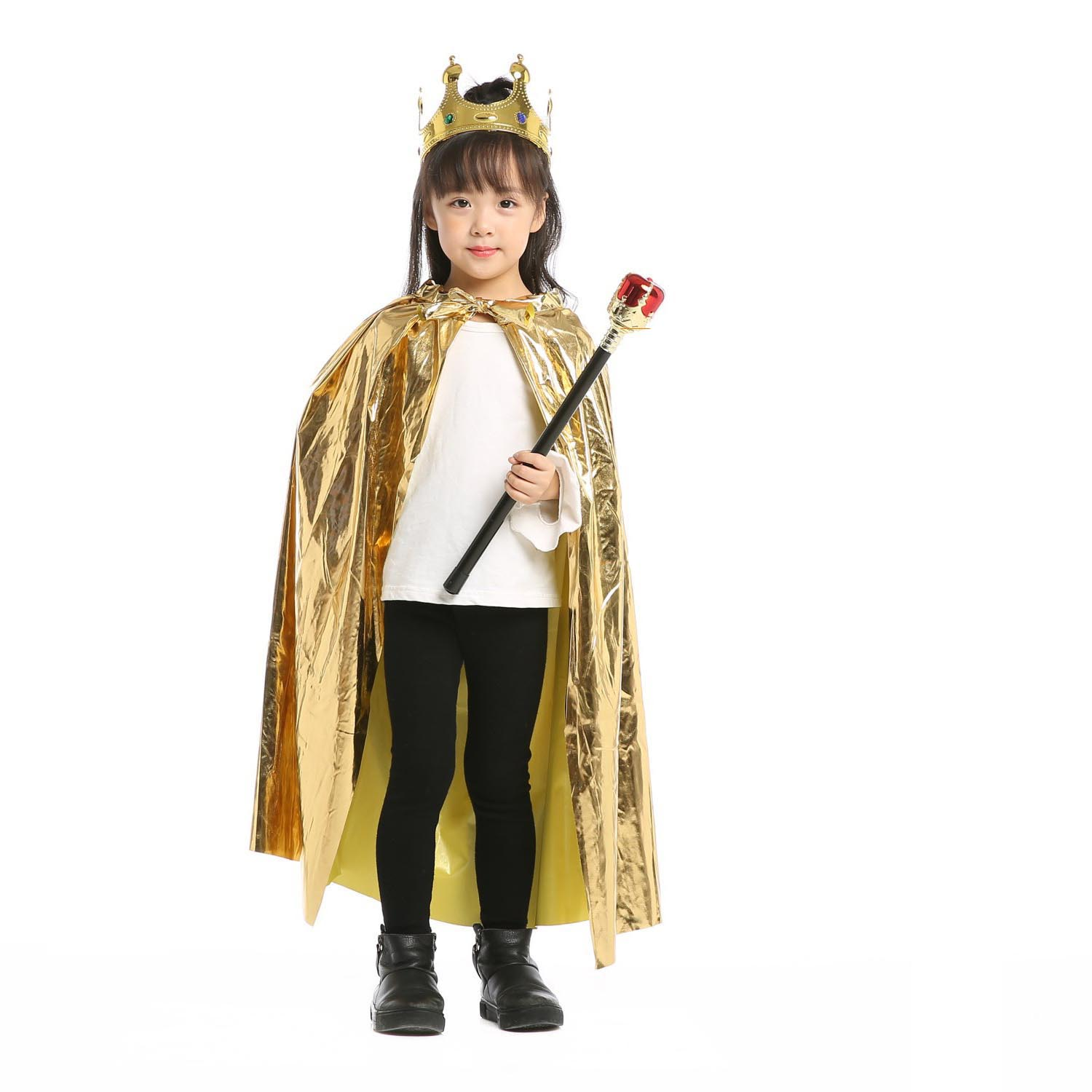 Boys Girls Princess Cloak Prince Crown Sceptre King Queen Children CosplayCarnival Birthday Party Costume For Kids