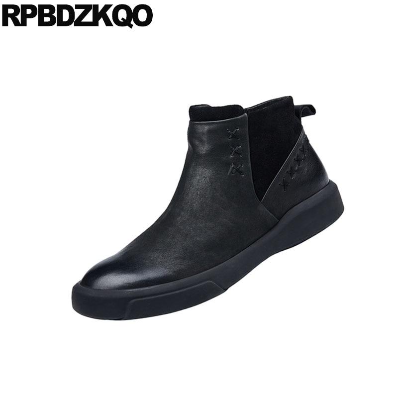 Grano Europea Negro Negro Hecho Hombres Invierno Piel Genuino A Botas De Imitación Italiano Botines Cremallera Zapatos Cuero Otoño Completo Mano Con marrón Marrón wFTOx