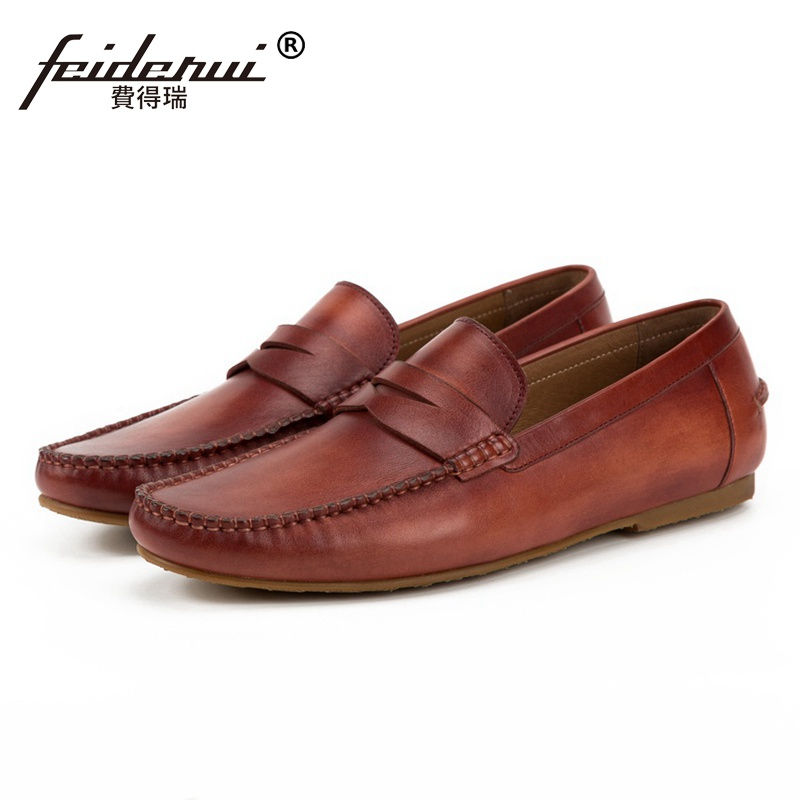New Fashion Round Toe Slip on Man Moccasin Shoes Genuine Leather Comfortable Casual Loafers Handmade Men's Driving Flats SS135 new fashion women round toe slip on shoes autumn femme casual canvas shoes cute girl party loafers driving free shipping beige
