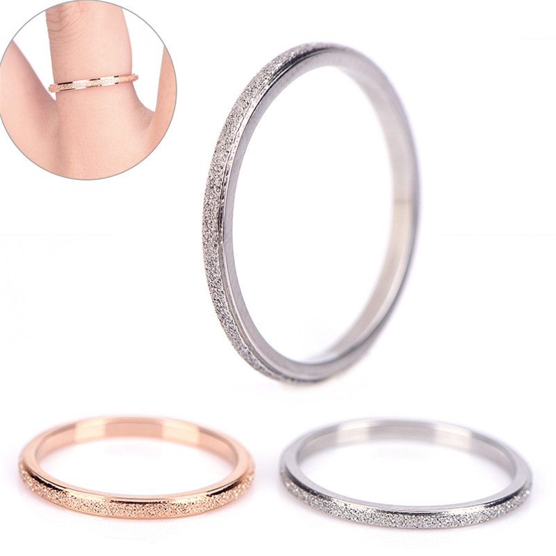 Trendy Couple Simple Ring Female Fashion Stainless Steel Ring Colour Scrub Rose Gold/Silver Color Sandblasting