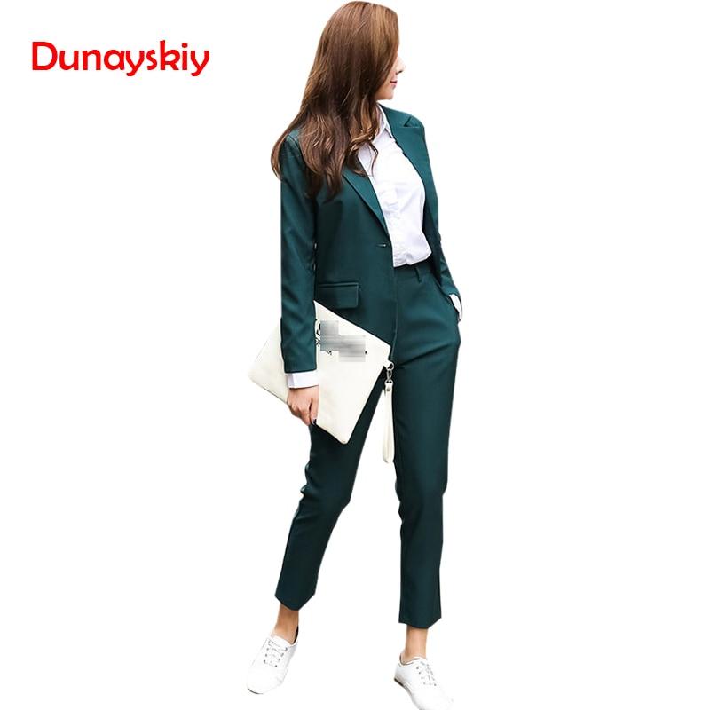 Coats dark 2 Lady Pant Sleeve Office Set Suit Solid And Basic Dunayskiy Business Green Wears Women Blazers Work Pants Uniform Piece Black Long xqEC8716w