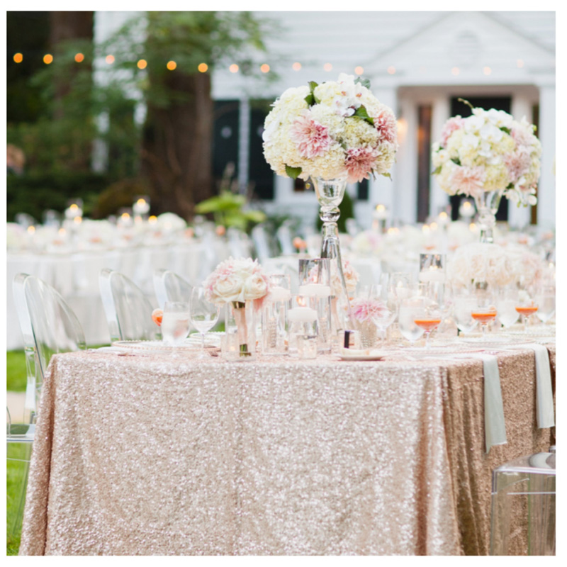 Whole 90 132 Champagne Sequin Tablecloth For Wedding Beautiful Table Cloth Overlay Cover R In Tablecloths From Home Garden On