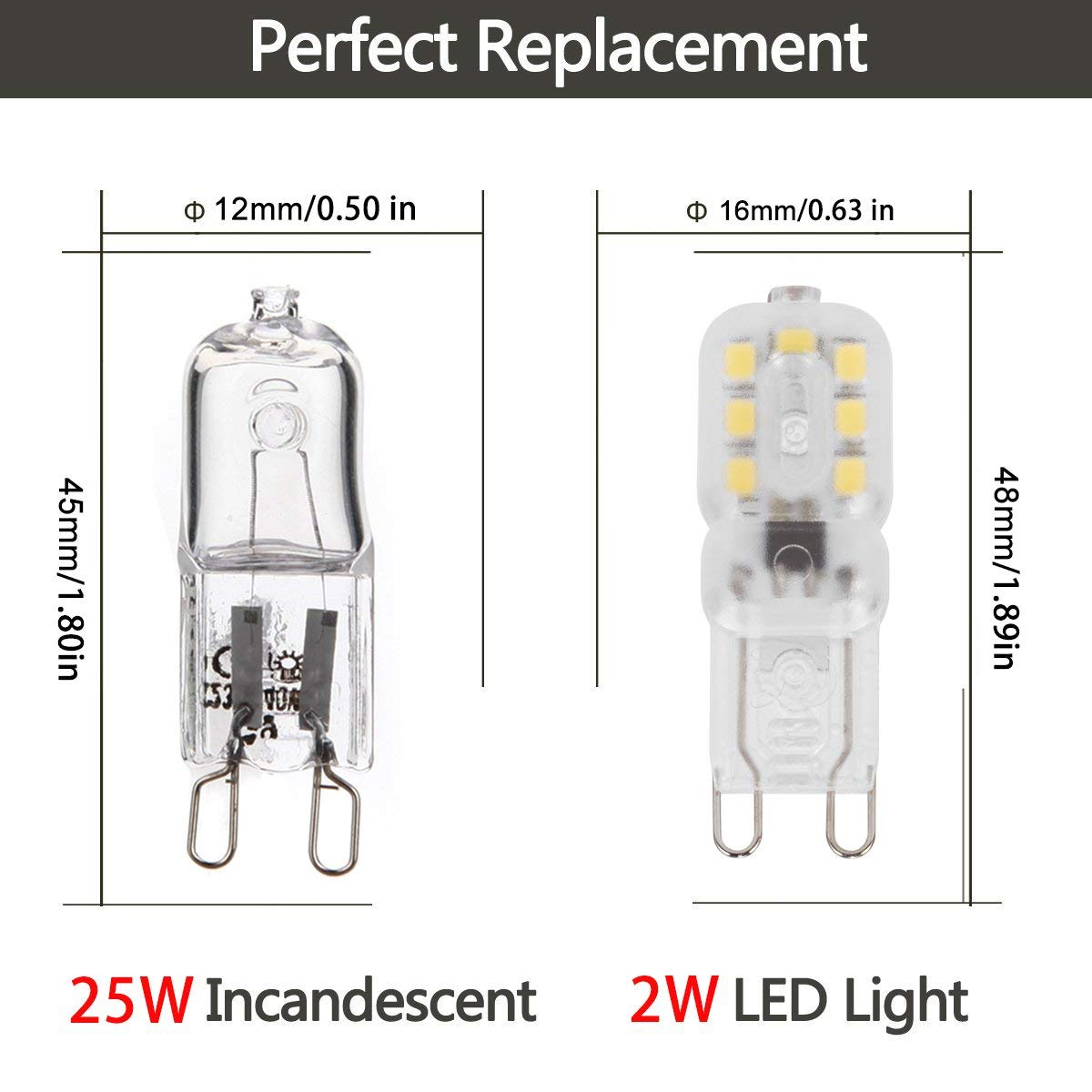 US $19 98 |G9 LED Bulbs 25W Halogen Bulbs Equivalent 2 Watt Cool White  6000K/200lm 360 Beam Angle Energy Saving [Energy Class A+] 10Pack,-in LED  Bulbs