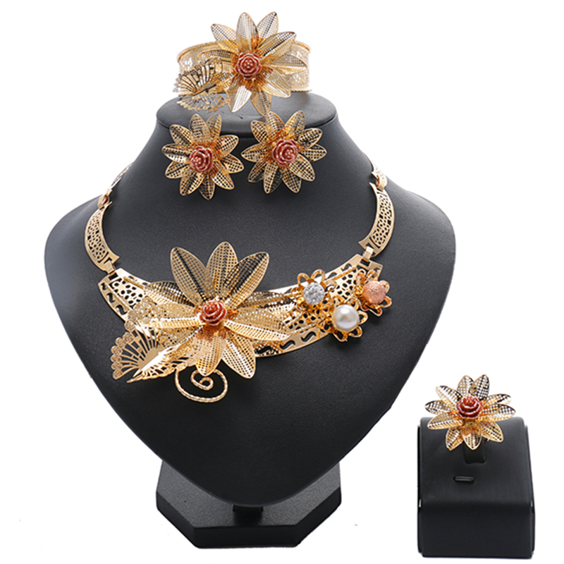 wholesale African Beads crystal jewelry set Fashion wedding of women Dubai jewelry sets Gold-color necklace Earrings Set