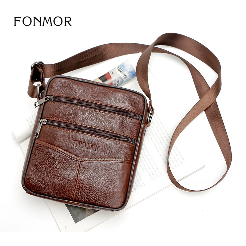 Home Fonmor Marke Herrenmode Wilde Echtes Leder Zipper Business Tasche Herren Rindsleder Schulter Diagonal Paket Hohe Qualität Handtasche