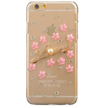 Bling Rhinestone Diamond Crystal Glitter Bling Case Cover Shell Phone Case for Iphone4s 5s 5c 6 6plus 7 7plus (Love Flowers)