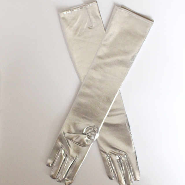 Women Elbow Length Long Latex Gloves Gold Silvery Wet Look Fake Leather Metallic Gloves Evening Party Performance Mittens