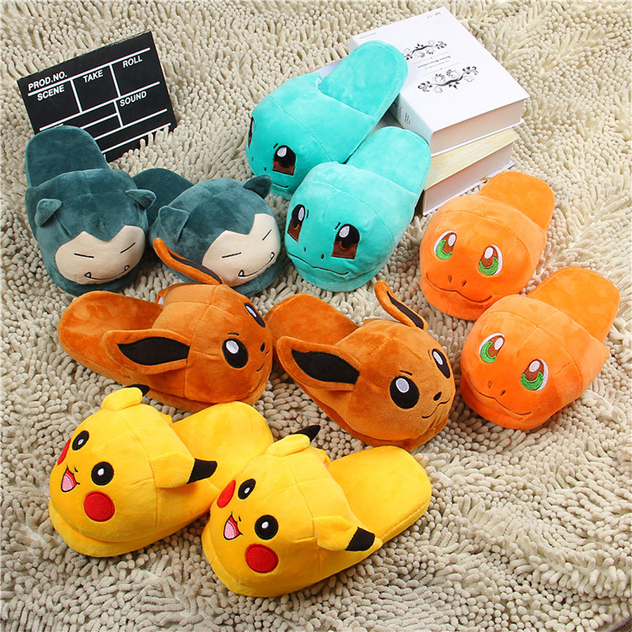 e2e24dd0aaa8 Women Anime Cartoon Pokemon Slippers Lovers Warm Woman Slippers Elf Ball  Pikachu Go Plush Shoes Home