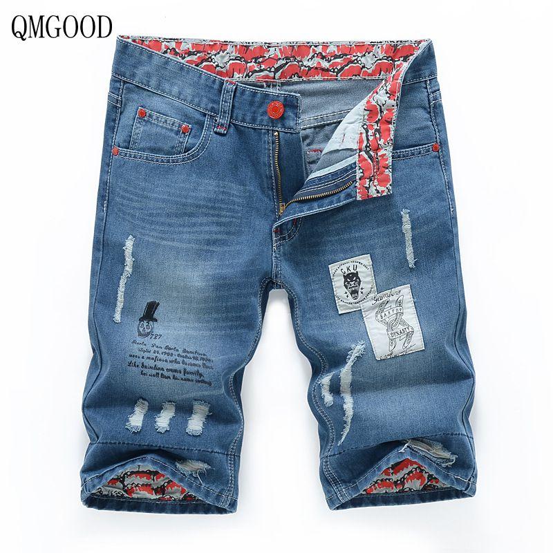 QMGOOD 2017 Jeans Shorts Men Hole Denim Shorts Male Ripped Jeans for Men Korean Version Knee Length Cowboy Pants Printed 36 38