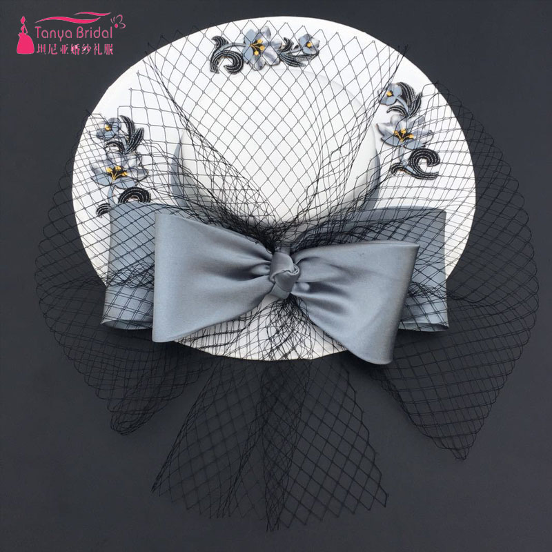 Fashion Bridal Wedding Hats White and black Cover face tulle Elegant Women Evening Hats ZH047