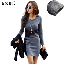 GZDL Femininas Women Autumn Winter Dress Long Sleeve PU Leather Bodycon Pencil Casual Party Cocktail Mini Dress Vestido CL2116