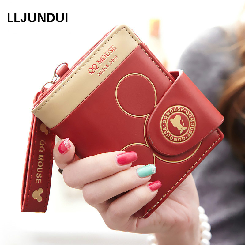 Women small wallet mickey cartoon cute coin purse hasp card holder womens wallets and purses female wallets famous brand